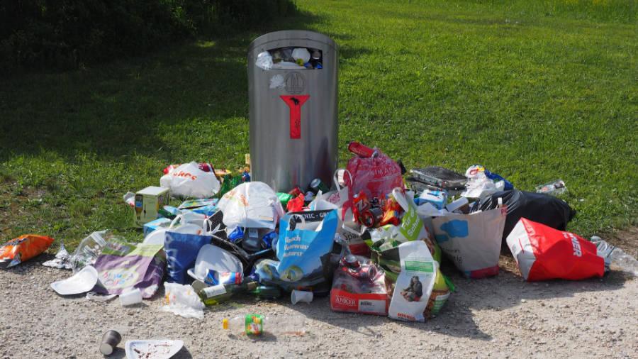 Nepořádek kolem odpadkových košů je častým nešvarem.