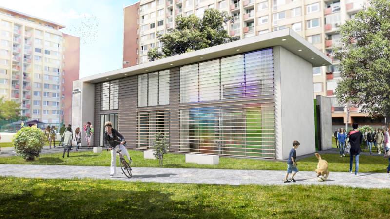 Vizualizace nového komunitního centra.