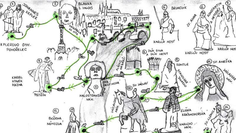 Součástí knihy je i mapka všech významných pražských soch.