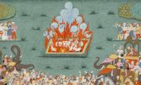 Upalování vdovy v Indii.
