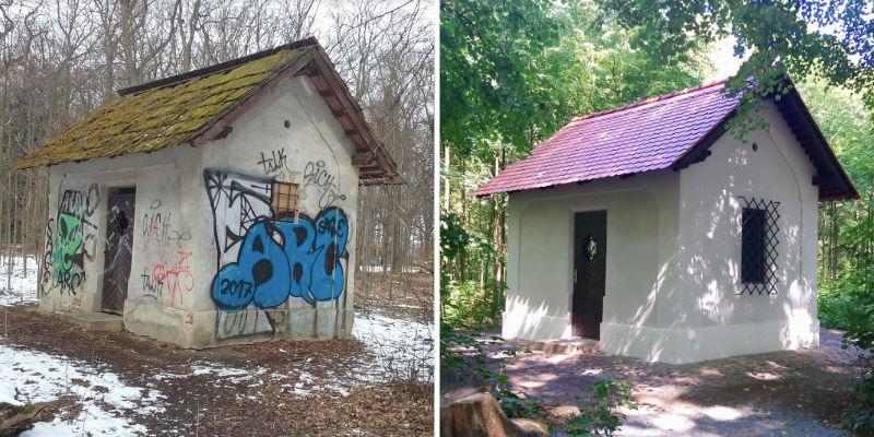 Studeniční domek v oboře Hvězda před a po rekonstrukci.