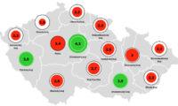 Průměrný počet zahájených nových bytů na 1000 obyvatel vkrajích (2015-2019).